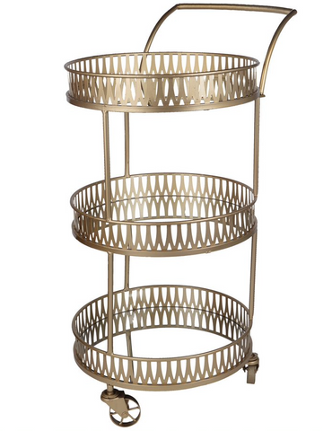 Gold Urban Vogue Round Bar Cart