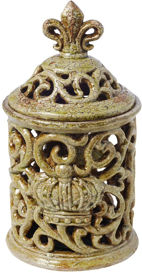 Saville Short  Decorative Jar with Fleur-de-lis Finial (Antique Moss)