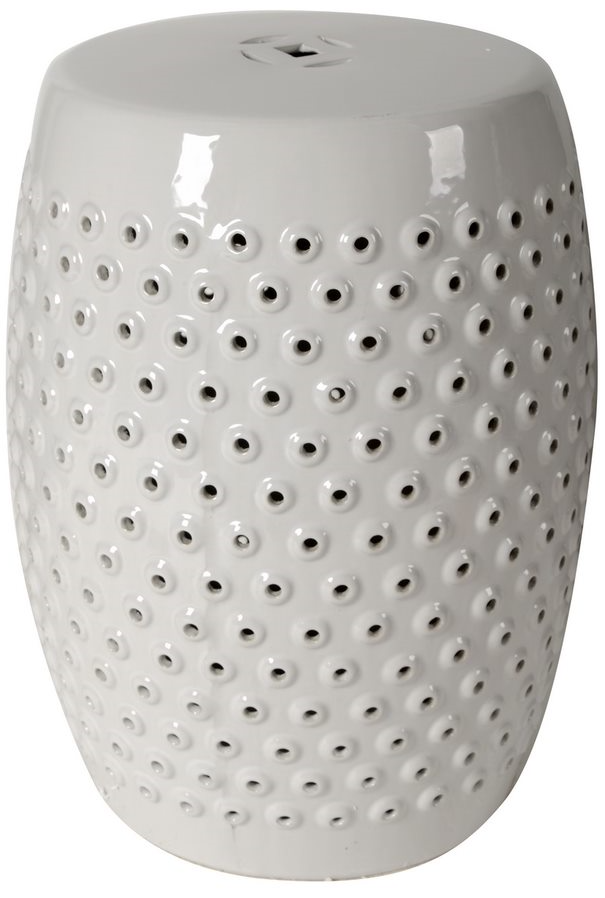 White Finley Indoor/Outdoor Pierced Stool