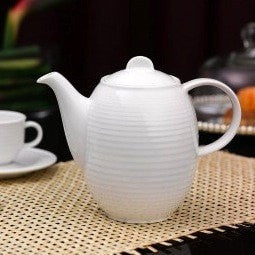 Image of Minh Long 13 Piece Porcelain Tea Set - French White Ribbed