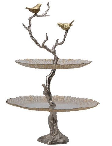 Image of Iron Branch 2-Tiered Glass Tray (Gold)