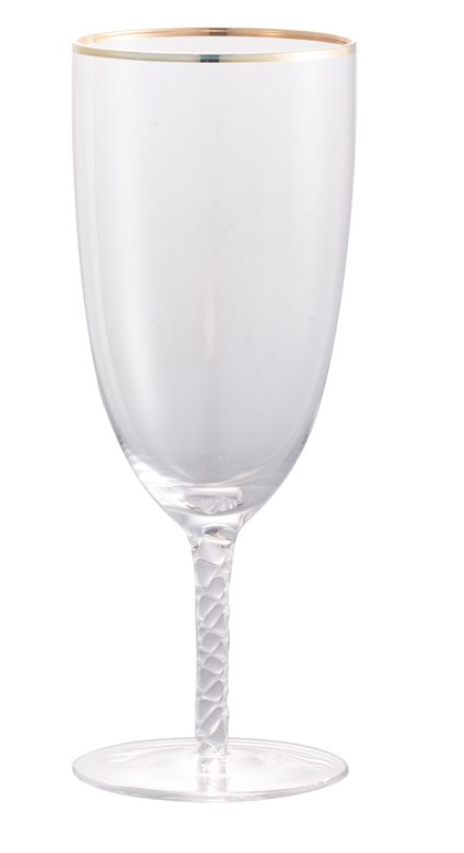 Felicity Bubble-Stem Goblet, Gold Rim