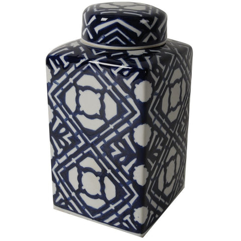 Valora Blue and White Square Lidded Jar