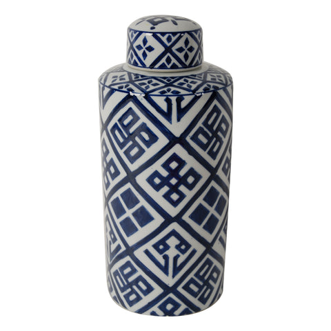 Alora Blue and White Cylinder  Jar, Small