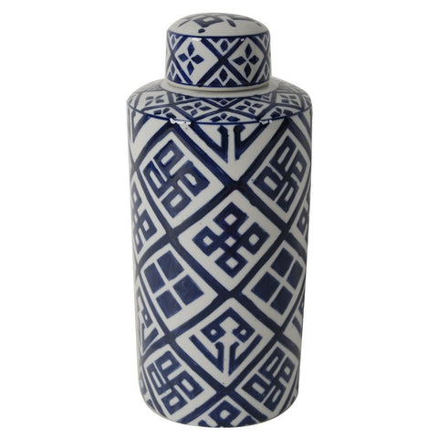 Valora Blue and White Cylinder Jar Small