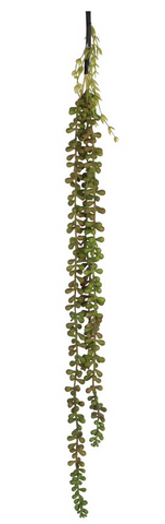 Faux Bead Grass 3-Strand Stem-Dark Green