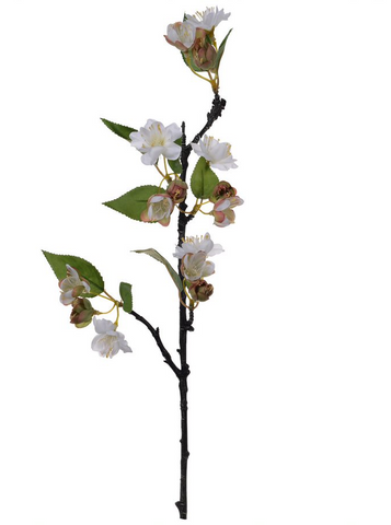 Image of Cream Faux Apple Blossom Stem