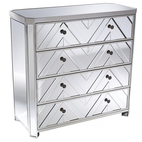 Mirrored 4 Drawer Chest with Beveled Chevron Pattern