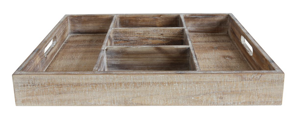 Decorative Wood Tray w/5 Compartments