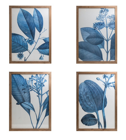 Fir Framed Wall Art w/Botanical Image , Indigo
