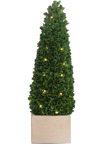 Faux Boxwood Potted Topiary Tree w/ Lights, Small