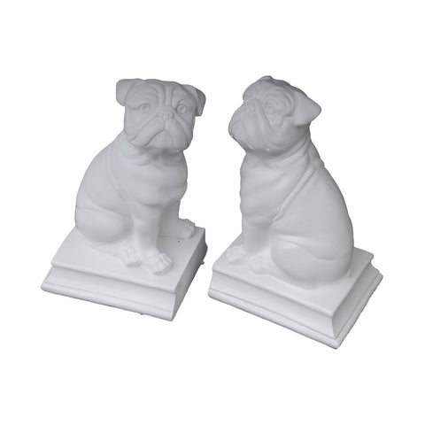 Bulldog / Pug Bookends in White