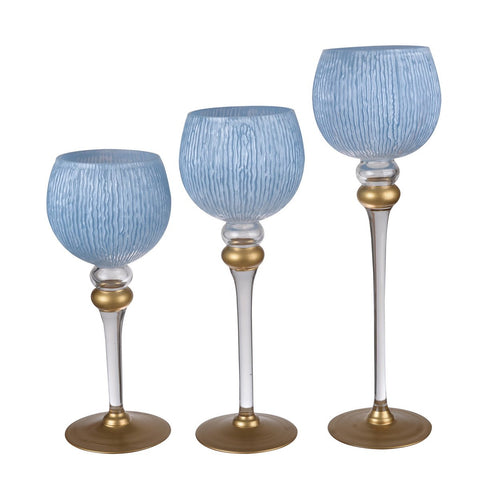 Ballico Candle Holders (Blue & White)