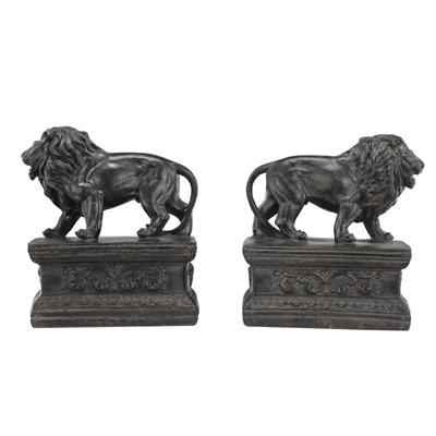 ATTENTA LION BOOKENDS, RESIN