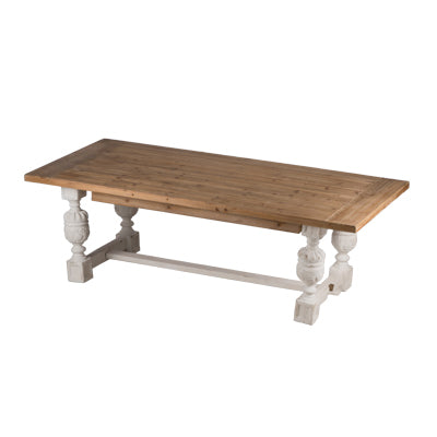 Distressed White and Natural Dining Table