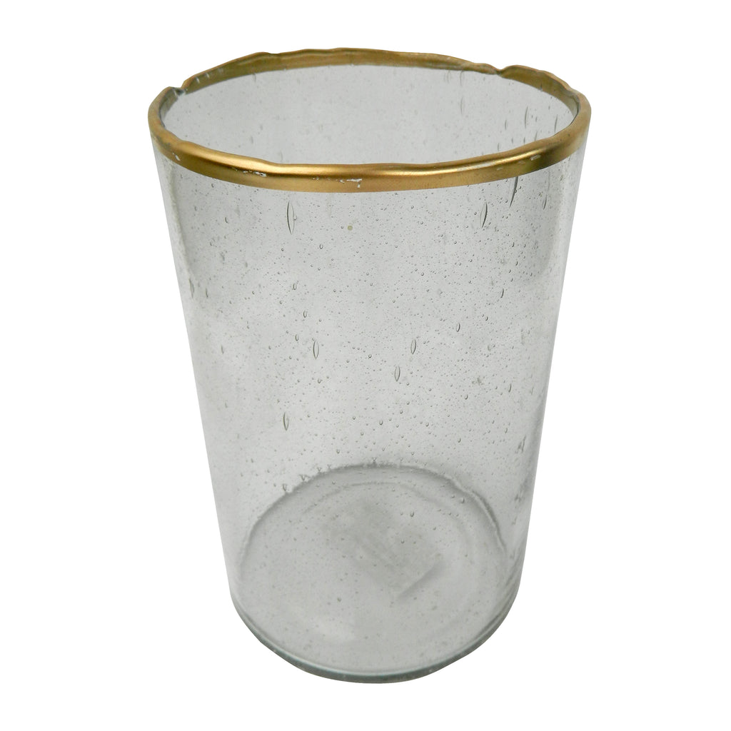 Gold Rim Bubble Glass Candle Holder - 77233 & 77234