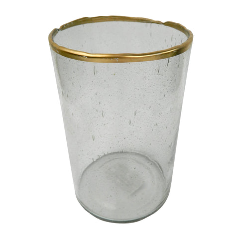 Image of Gold Rim Bubble Glass Candle Holder - 77233 & 77234