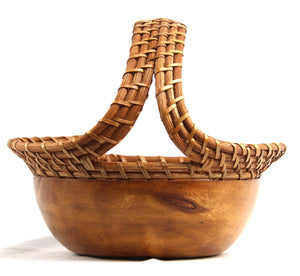 Round Acacia Wood Rattan Weaving Handle Basket