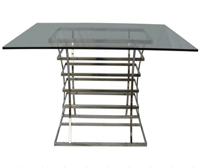 Qubix Dining Table Brushed Stainless Steel 150*90*76