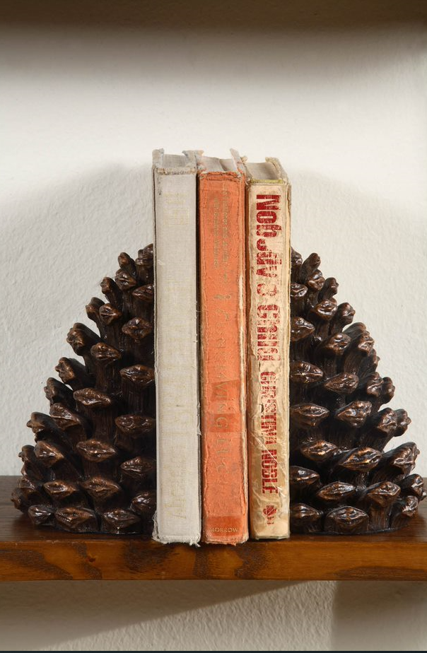 Resin Pinecone Bookends , Bronze Finish