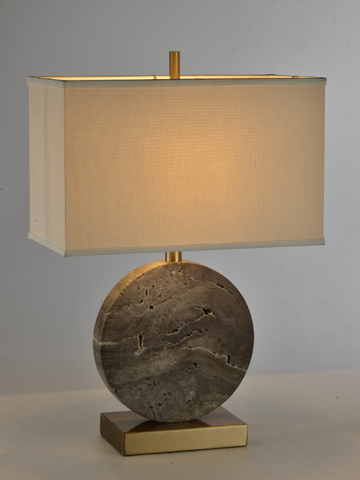 Round Grey Marble Table Lamp