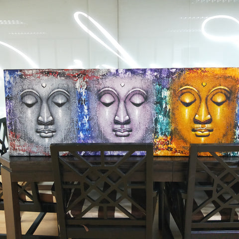 Image of Buddha Heads Painting (ON SALE)
