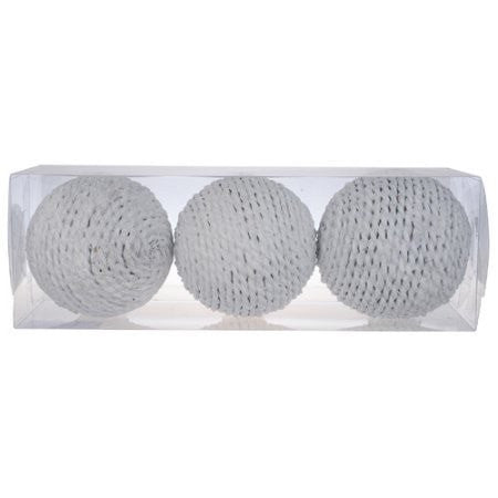 Rustic Rattan Twine Rope Design Decorative Balls WHITE