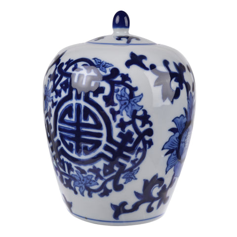 MEERA BLUE-AND-WHITE LIDDED JAR