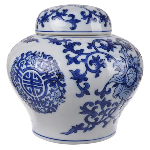Meera Blue And White Lidded Jar