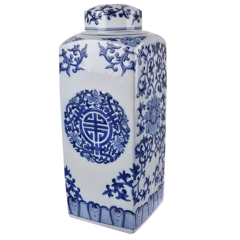 Meera Blue And White Lidded Jar Square Tall