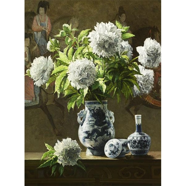 Wild White Carnations With Antique Vase