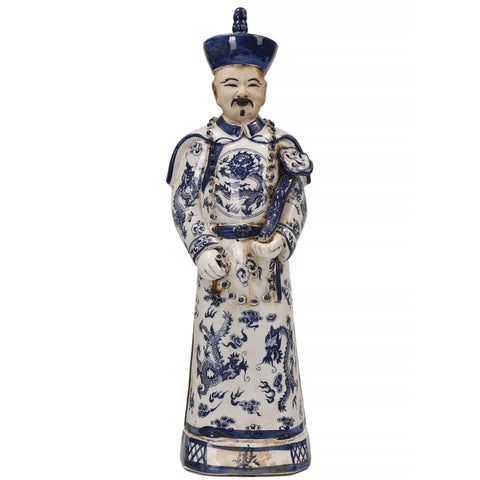 Blue and White Emperor Statue