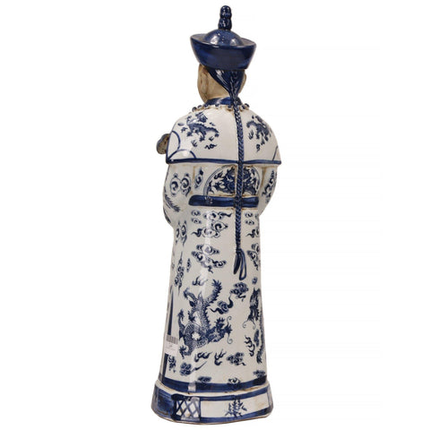 Blue and White Emperor with key Statue