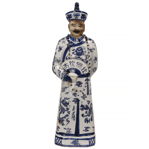 Blue and White Emperor With Fan Statue
