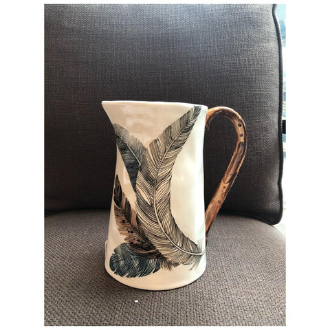 Dolomite Pitcher w/ Feather Decal