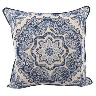 Image of Blue and White Paisley Pattern Pillow - Taylor B. Fine Design Group - 1