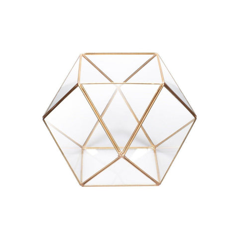 Crystal Shape Brass Edge Terrarium - Taylor B. Fine Design Group - 1