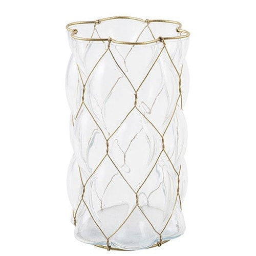 Glass & Wire Candle Vase White