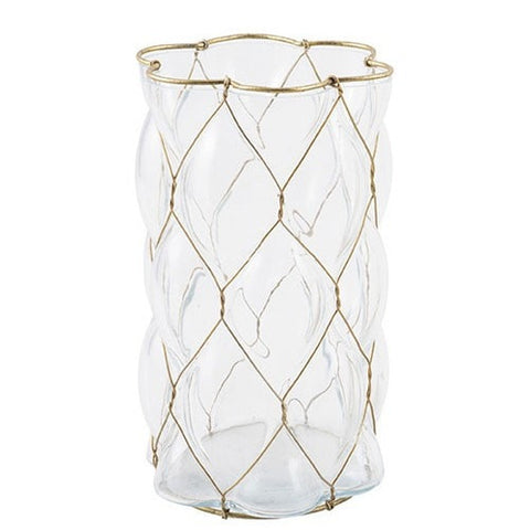 Image of Glass & Wire Candle Vase White