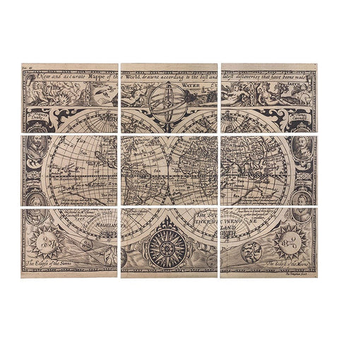 Wood Vintage World Map, Set of 9 Panels