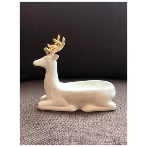 Image of Stoneware Deer Shaped Soap Dish, Gold & White