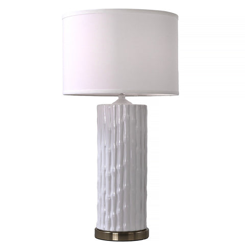 Ceramic White Bamboo Table Lamp