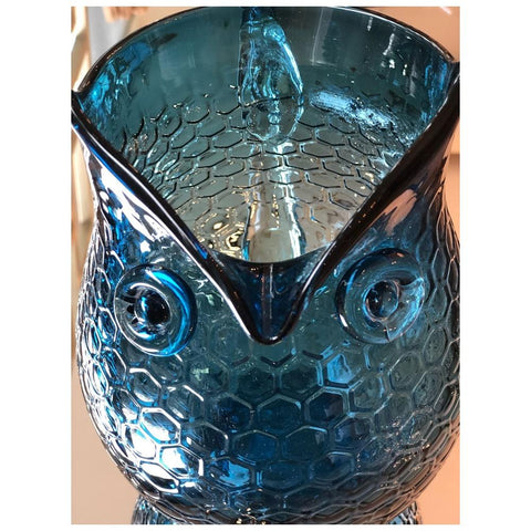 Glass Owl Pitcher (Baby Blue/ Navy Blue)