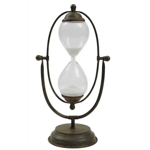 Image of Decorative Metal & Glass Hourglass