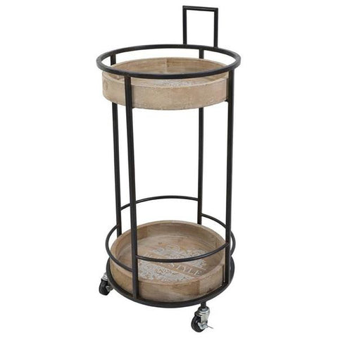 Fir & Metal 2-Tier Trolley