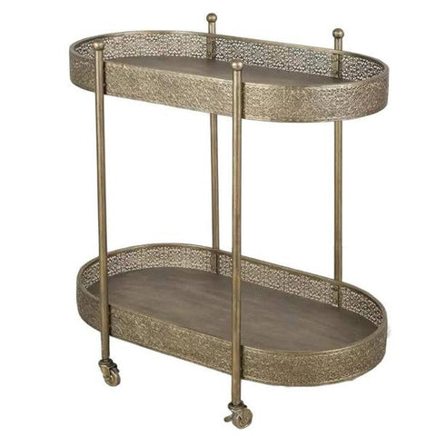 Cleo Gold Metal Bar Cart, KD