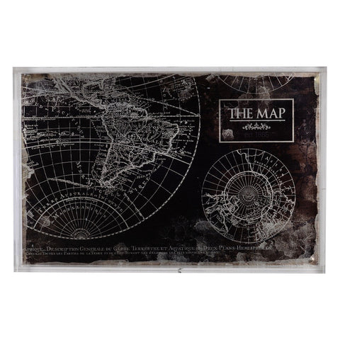 Acrylic Tray with Map Pattern