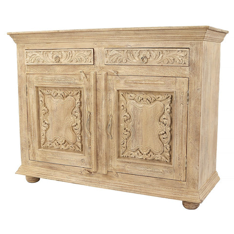 Indian Wooden Carved 2 Drawers Sand Blasted Finish Side Board