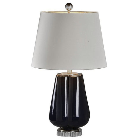 Black Ceramic Lamp with Silver Base