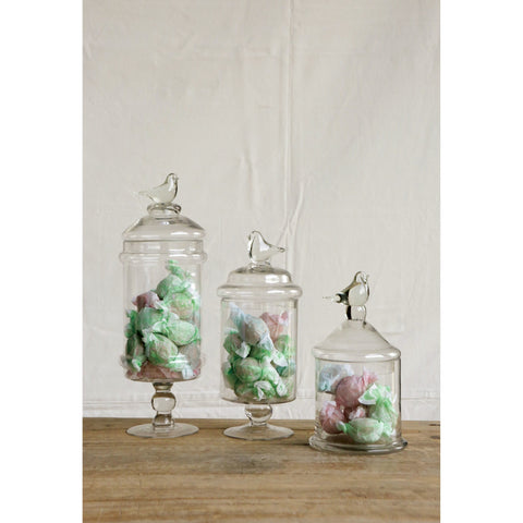 Image of Glass Container with Bird Lid - Taylor B. Fine Design Group - 2